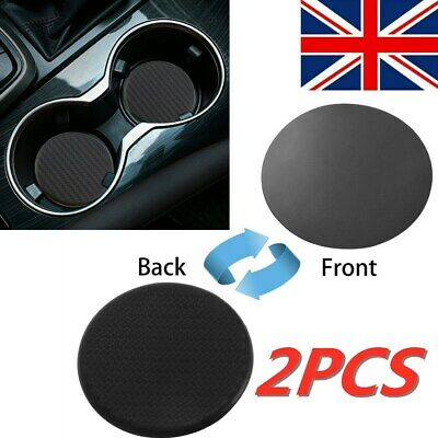 2x Auto Car Accessories Water Cup Coaster Slot Non-Slip Carbon Fiber Mat CLI HOT