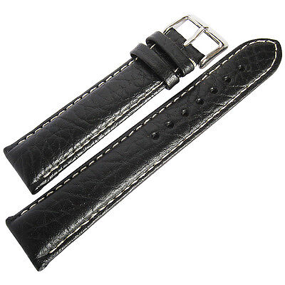 22mm deBeer Mens SHORT Black Sport Leather Contrast Stitched Watch Band Strap