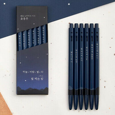 Monami 153 Yoon Dongju Edition BallPoint Pens 6PCS Korean Poems Classic Blue