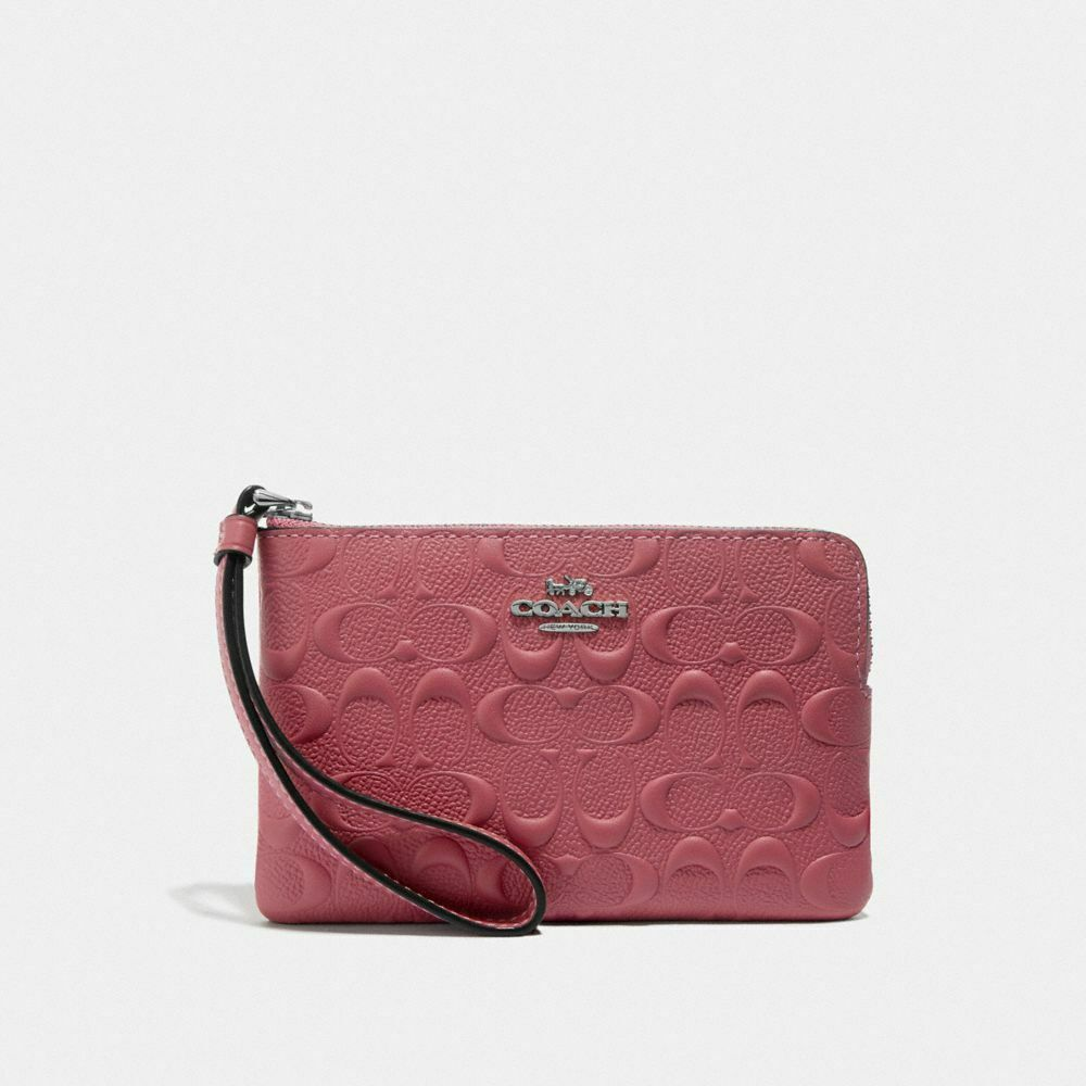 New Coach F58032 F58035 Corner Zip Wristlet With Gift Box New With Tags Strawberry Signature