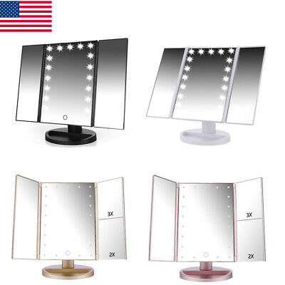 Easehold Tri Fold 21 Led Lighted Touch Screen Tabletop Vanity Makeup Mirror  Us
