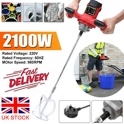 Plaster Mixer 2100W Pro Single Paddle Stirrer For Plaster Paint Cement Mortar UK