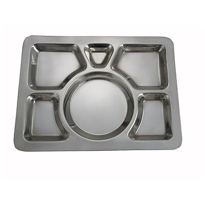 Winco Smt-1 15.8x11.7x0.8-inch Stainless Steel Mess Tray Wit 6 Compartments St