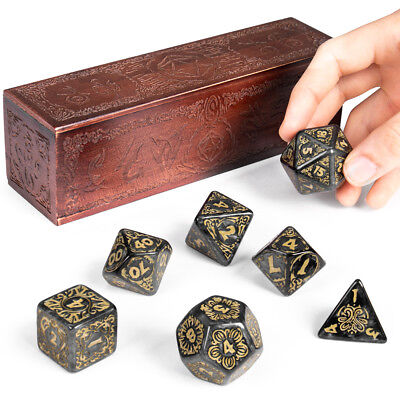 Titan Dice: Nyx | 7 Giant Polyhedral Dice Set in Wooden Box | 25mm Jumbo Dice - Jumbo Dice