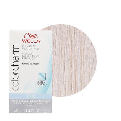 Ash Colour (Wella Color Charm Permament Liquid Hair Dye Toner 42mL Lightest Ash Blonde T18 )