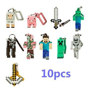 Random Minecraft Series 1 Keychain Keyring 10 PCS Figure Kids Gift Toys US