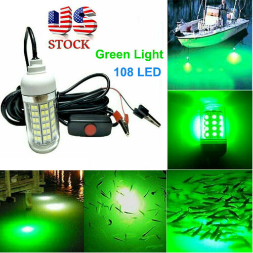 12V Green LED Underwater Submersible Fishing Light Night Crappie Shad Squid Lamp Fishing