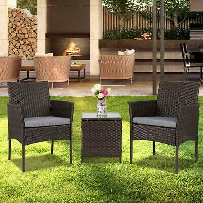 3 pcs Chairs Table Conversation Set Patio IN/Outdoor Wicker Rattan Furniture