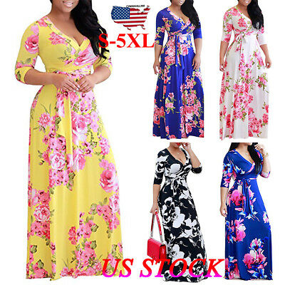 Hippie Party Dress (Women Floral Long Dress Evening Gown Party Beach Hippie Maxi Dress Plus)