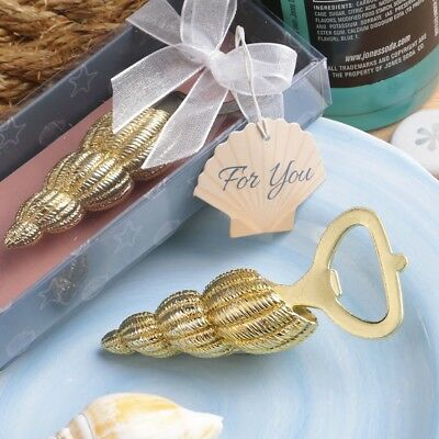 20 Gold Conch Beach Sea Shell Bottle Openers Wedding Bridal Shower Party Favors  - Bottle Openers Wedding Favors