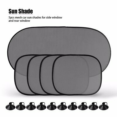 5Pcs Car Window Sun Shade Visor Screen Protector Kids Rear Side Blind Black