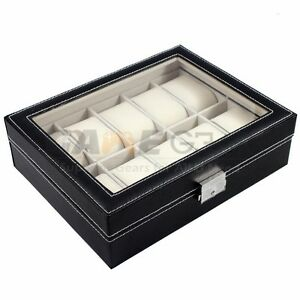 10 Slot Watch Box Leather Display Case Organizer Top Glass Jewelry Storage Black