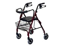 Lightweight walking frame with wheels, basket and seat.