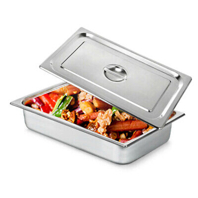 4pc Pack 4 Deep Full Size Steam Table Pans Wlids Catering Food Warmer Buffet