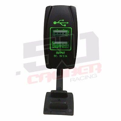 Etched Waterproof Rocker Switch LED Light Bar Rat Hot Rod Drag Race Car Green