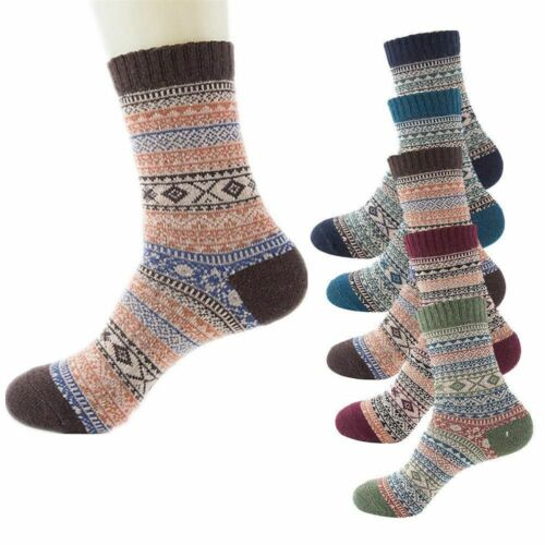 5Pairs Women's Vintage Style Winter Thick Knit Warm Casual Wool Crew Socks Men's Clothing, Shoes & Accessories