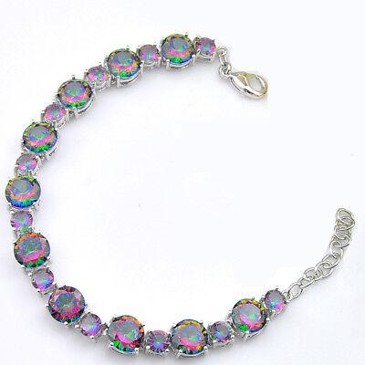 - European Multi Round Shaped Rainbow Mystic Topaz Gems Silver Charm Bracelet 8