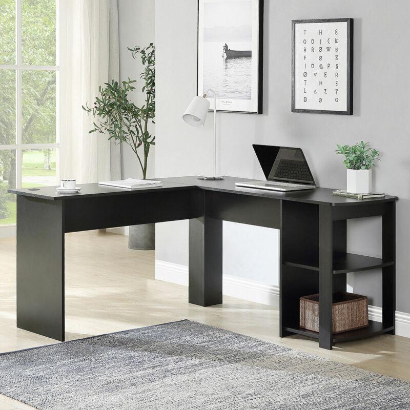 Heavy Duty L-Shaped Corner Computer Desk w/Shelf Study Table Workstation Black