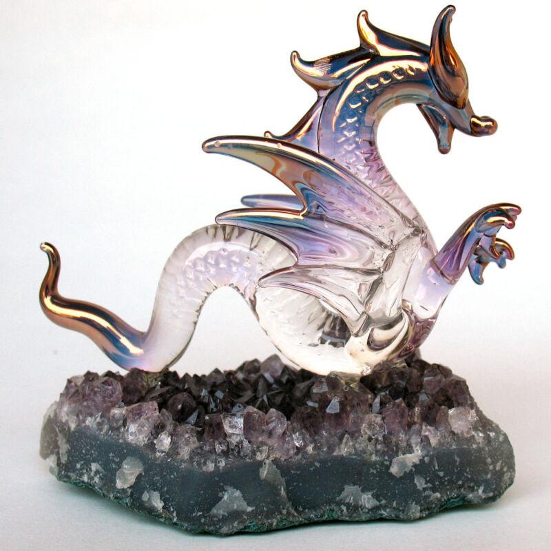 Dragon Serpent Figurine Blown Glass  Amethyst Crystals
