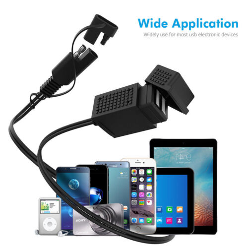 2.1A Motorcycle SAE Cable Adapter Plug Dual USB Charger for