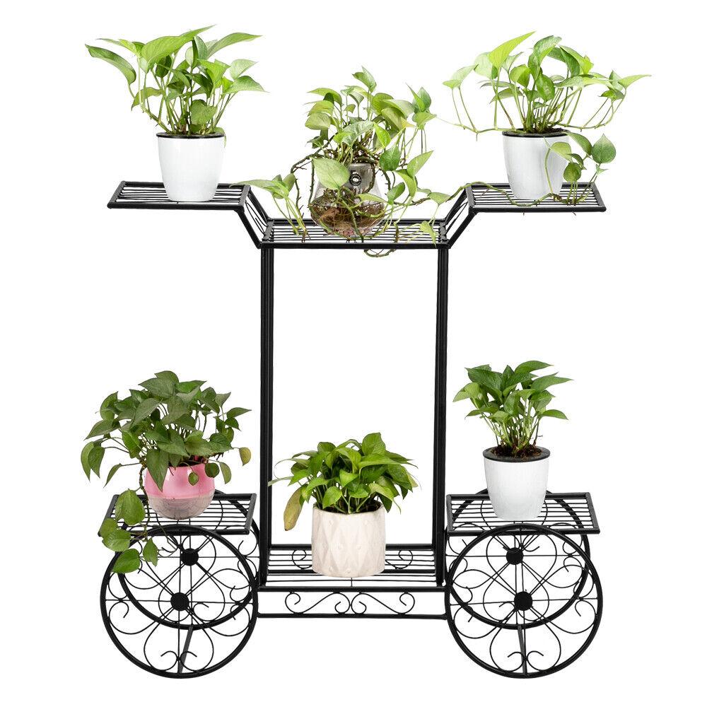 6-Tier Garden Cart Stand Flower Rack Display Decor Flower Po
