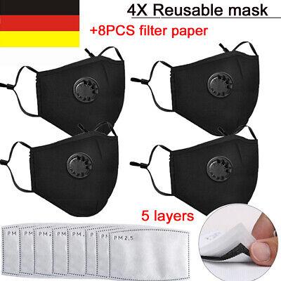 4X Maske Mundschutz mit Ventil Aktivkohle+8X Filter PM2.5 Waschbar Schutzmaske