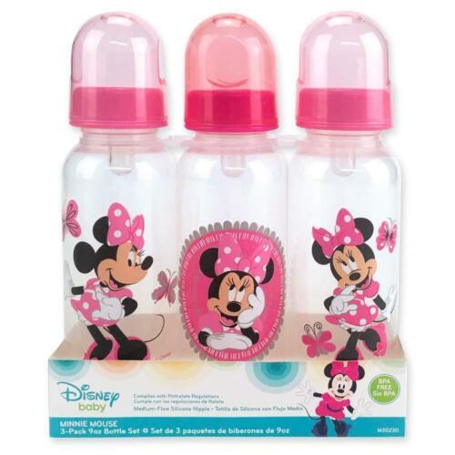 Minnie Mouse Baby Bottles Set 3 Girl Newborn 9 Oz BPA Free Gift Feeding New
