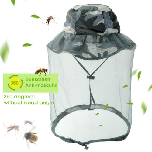 Fisherman Hat Wide Brim AntiMosquito Bug Insect Net Mesh Head Face Protector Cap Camping & Hiking