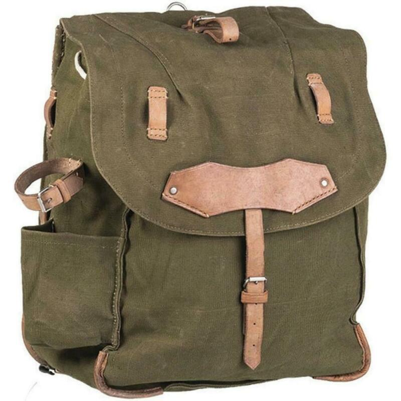 Vintage Romanian Military Rucksack, Army Canvas Backpack, Leather Straps, Green