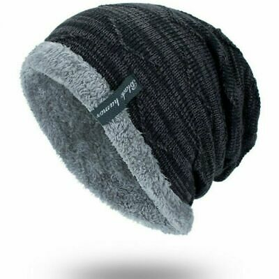 Men's Warm Winter Soft Lined Thick Wool Knit Skull Cap Slouchy Beanies Hat