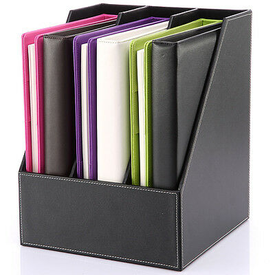 Wooden Faux Leather Desk File Holder Box Document Rack Office Organizers Cabinet