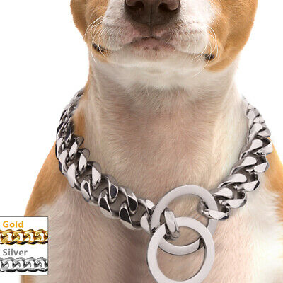 Heavy Duty Choke Chain Dog Collar Strong Steel Metal Ring For Rottweiler -