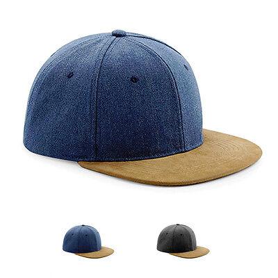Beechfield Suede Peak Snapback Cap Kappe Mütze Wildleder Retro Stil Neuware ()