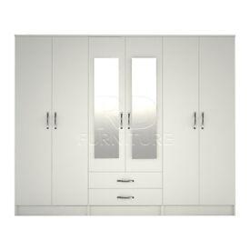 Classic wardrobe 4 you, 2,28m wide 6 door white wardrobe
