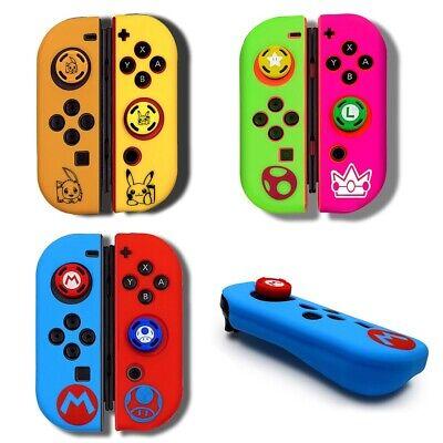 Nintendo Switch Joy Con Silicone Covers + Thumb Grips Pack (Mario + Pokemon) UK