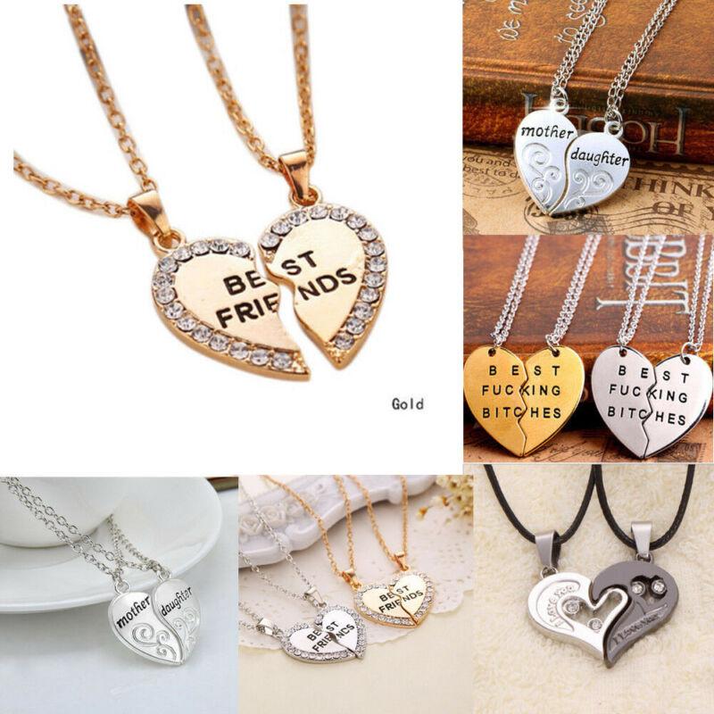 2Pcs/set Couple Puzzle BFF Love Heart Pendant Necklace For V