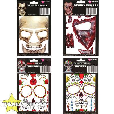 TEMPORARY FACE TATTOOS HALLOWEEN FANCY DRESS ADULTS SUGAR SKULL CYBORG MAKE UP](Cyborg Halloween Makeup)