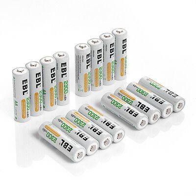 16 pcs EBL AA Ni-MH 2300mAh Rechargeable Batteries For MP3 Toys Camera US Stock