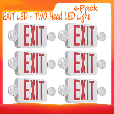 6pcs Red Led Emergency Exit Light Sign Combo Battery Backup Security Light L1k2