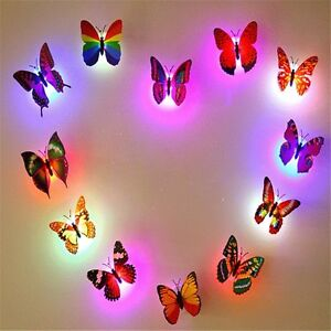 Butterfly Lights 12PCS 3D Wall Stickers For Girl Bedroom Night Light  Stickers Part 51