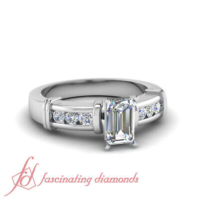 1 CARAT Emerald Cut VVS2 Diamond Channel Set Engagement Ring 14K GIA Certified
