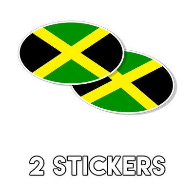 Jamaican Flag Oval Sticker decal Kingston Montego Bay Jamaica 3x5 2 -