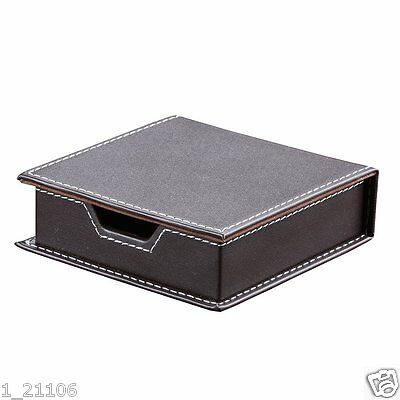 Brown Leather Sticky Notes Case Desk Stationery Holder Box With A Lid Cover New