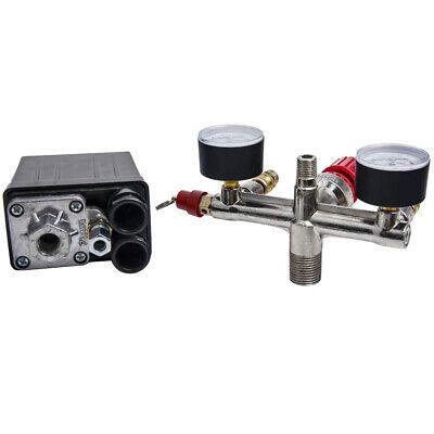 90-120 Psi Air Compressor Pressure Switch Control Valve Regulator With Gauges