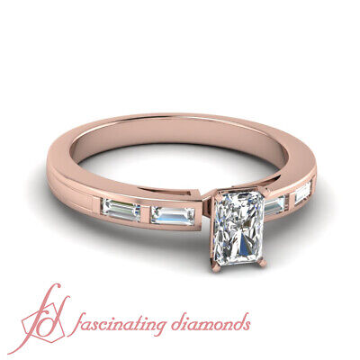 1 Ct Radiant And Baguette Diamond Engagement Ring For Women Ring GIA Size 5-9