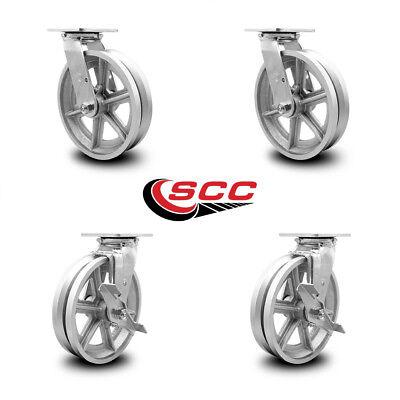 Scc 8 X 2 V Groove Semi Steel Wheels Caster Set 4 2 Swivel2 Swivel Wbrakes