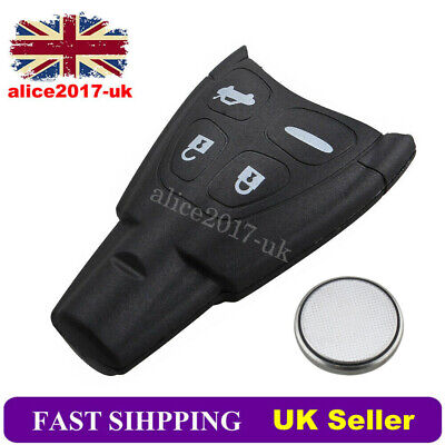 4 Button Remote  Key Fob Case Replacementfor SAAB 93 95 9-3 9-5 + Battery Kit