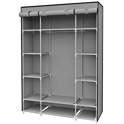 Sunbeam Free Standing Storage Closet With 13 Shelves & Roll Down Covers, Gray Closet Organizers