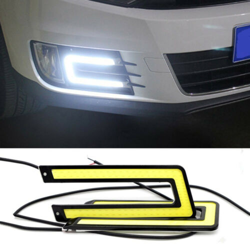 2pcs White Car COB LED Lights DRL Fog Driving Lamp Waterproof DC 12V U Shape