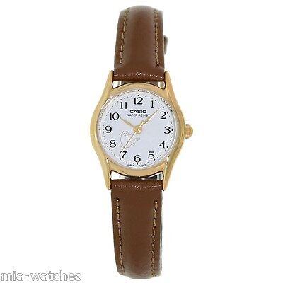 Casio Women's Brown Leather Strap Watch, White Dial, Cat, LTP1094Q-7B8